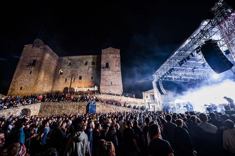 People, Crowd, Stage, Event, Performance, Night, Castle, Architecture, Audience, Photography,