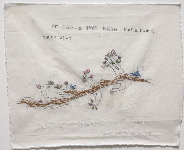 tracey emin, it could have been something 2001, china, grafite, ricamo su calico