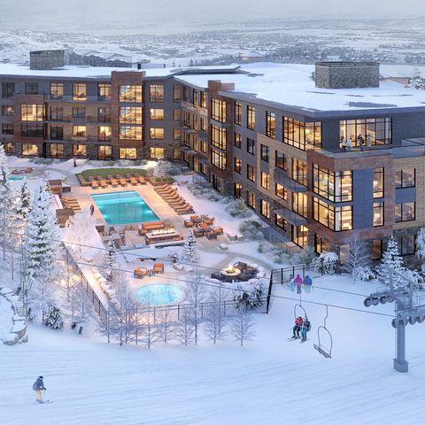 Snow, Winter, Town, Building, Human settlement, Ski resort, Mixed-use, Architecture, Resort, Urban design,