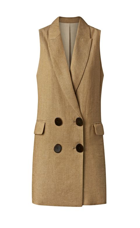 Clothing, Outerwear, Coat, Beige, Overcoat, Trench coat, Sleeve, Vest, Jacket, Button,
