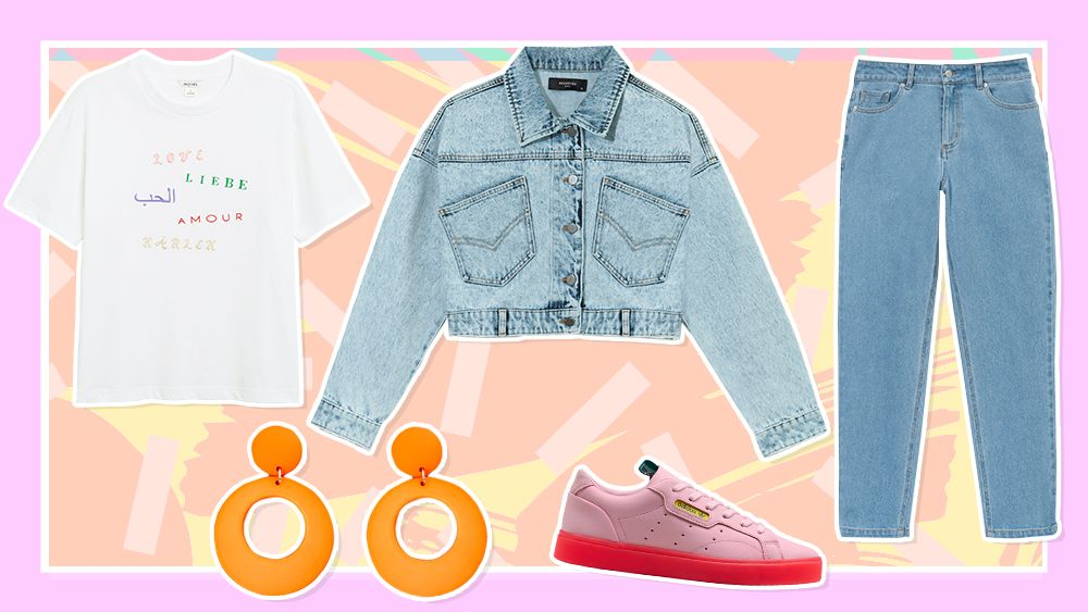 90's inspired outfit with double denim