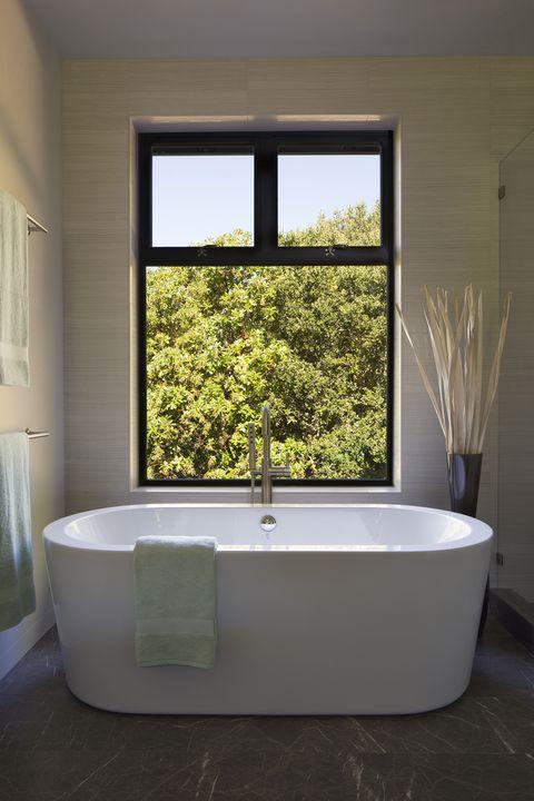 Bathtub, Bathroom, Room, Interior design, Property, Plumbing fixture, Architecture, Window, House, Home,