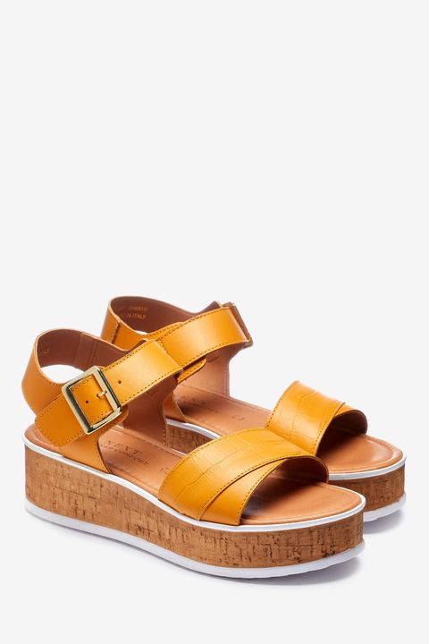 Ochre cork wedge sandals Next