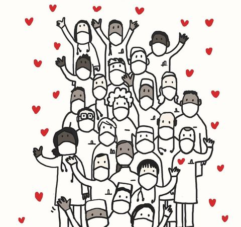 People, Line art, Text, Font, Celebrating, Illustration, Drawing, Style, Crowd,