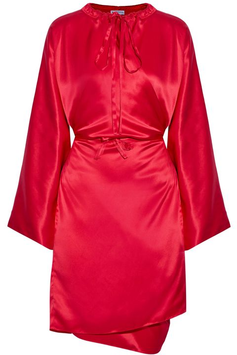 Clothing, Red, Robe, Dress, Sleeve, Satin, Outerwear, Day dress, Nightwear, Magenta,