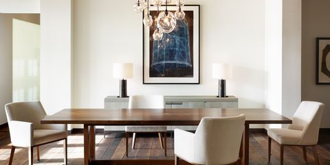 Dining room, Furniture, Room, Table, Interior design, Property, Kitchen & dining room table, Lighting, Building, Chair,