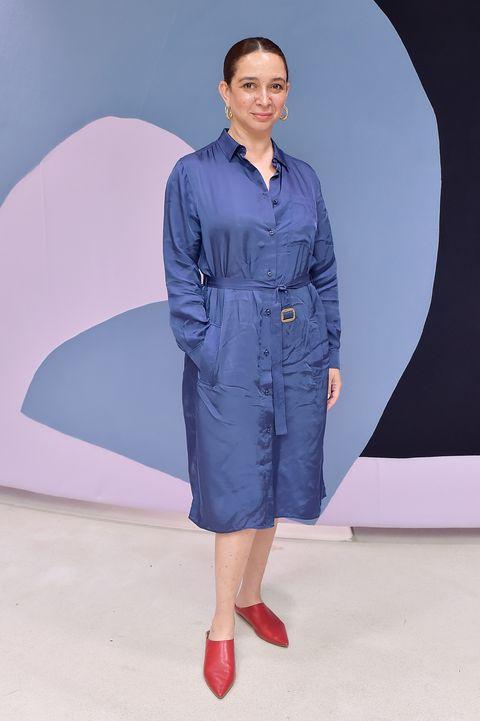 Clothing, Blue, Fashion, Denim, Fashion show, Standing, Fashion model, Footwear, Dress, Workwear,