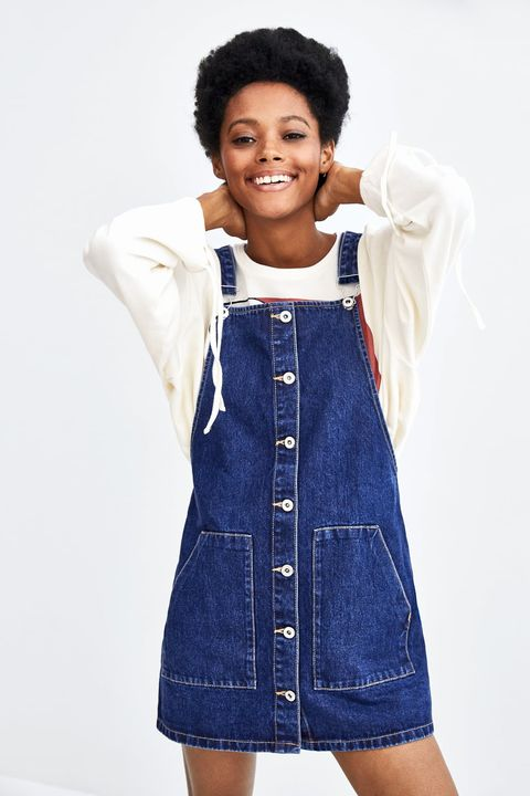 Denim, Clothing, White, Blue, Jeans, Overall, Standing, One-piece garment, Textile, Child model,