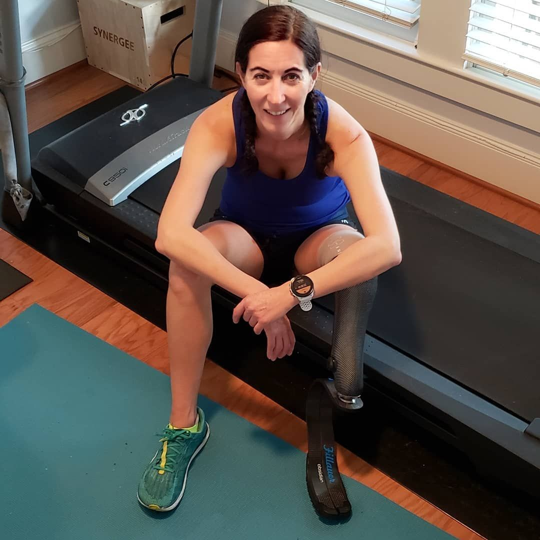 She became the first amputee to run 100 miles on a treadmill in under 24 hours