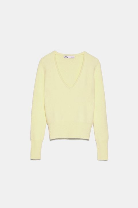Clothing, White, Yellow, Sleeve, Outerwear, Sweater, Top, Crop top, Beige, T-shirt,