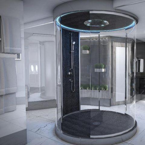 Property, Room, Bathroom, Interior design, Door, Architecture, Shower, Ceiling, Building, Glass,