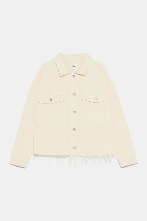 Clothing, White, Outerwear, Sleeve, Collar, Beige, Jacket, Button, Sweater,
