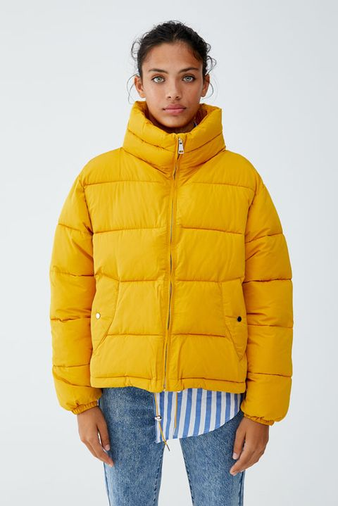 Clothing, Jacket, Hood, Outerwear, Yellow, Sleeve, Orange, Coat, Parka, Puffer,