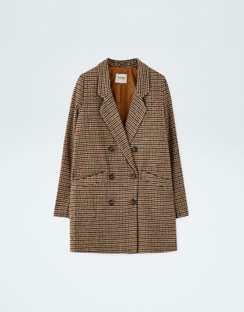 Clothing, Outerwear, Jacket, Blazer, Beige, Brown, Pattern, Sleeve, Plaid, Design,