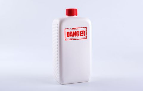 a bottle of potentially toxic shampoo