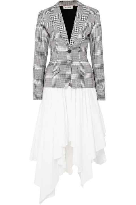 Clothing, White, Outerwear, Jacket, Blazer, Sleeve, Suit, Dress, Formal wear, Top,