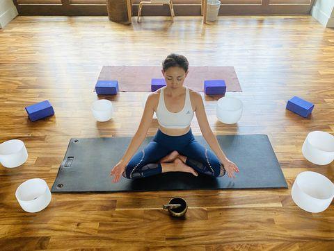 Physical fitness, Yoga, Yoga mat, Exercise, Arm, Pilates, Mat, Joint, Flooring, Floor,