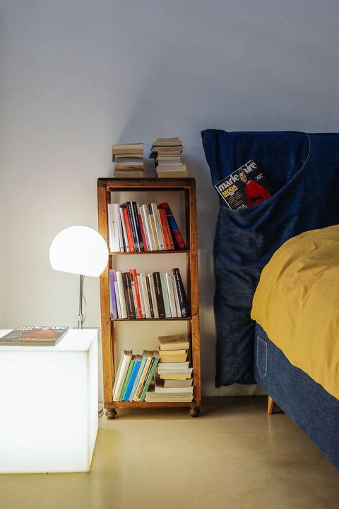 Shelf, Shelving, Furniture, Bookcase, Room, Bed, Bedroom, Interior design, Table, Floor,