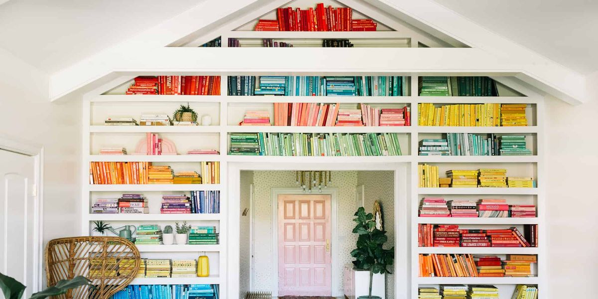 Diy rainbow bookshelf tips elsie larson colorful book wall - What did the wall say to the bookcase ...