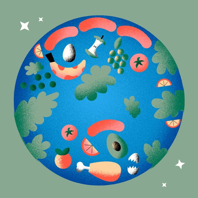 globe with food in place of planets
