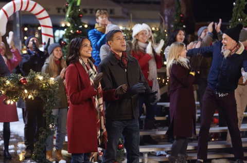 """scene from hallmark movie called """"a christmas tree grows in christmas"""""""