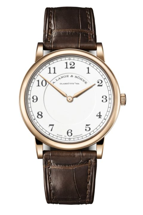 a lange  sohne honey gold with enamelled copper dial in white reference 239050