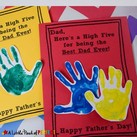 homemade father's day cards with colorful kids' handprints