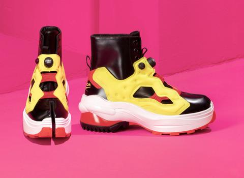 Footwear, Shoe, Yellow, Pink, Athletic shoe, Sneakers, Boot, Walking shoe,