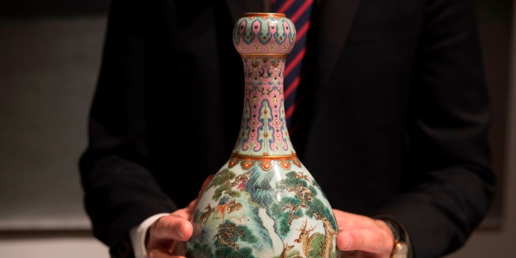 A rare Imperial Qianlong porcelain vase (18th century) is displayed at Sotheby's auction company in Paris