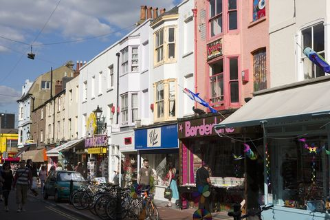 A row of shops in the North Laine area of Brighton