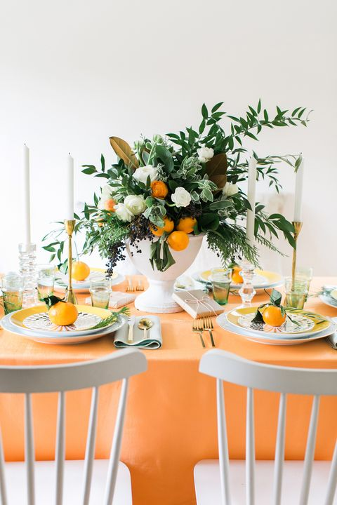 Orange, Yellow, Green, Flower, Table, Bouquet, Plant, Room, Cut flowers, Brunch,