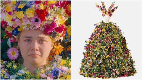 midsommar flower dress and matching crown