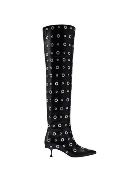 Footwear, Boot, Knee-high boot, Shoe, Rain boot, Pattern, Design, Riding boot, Polka dot, High heels,