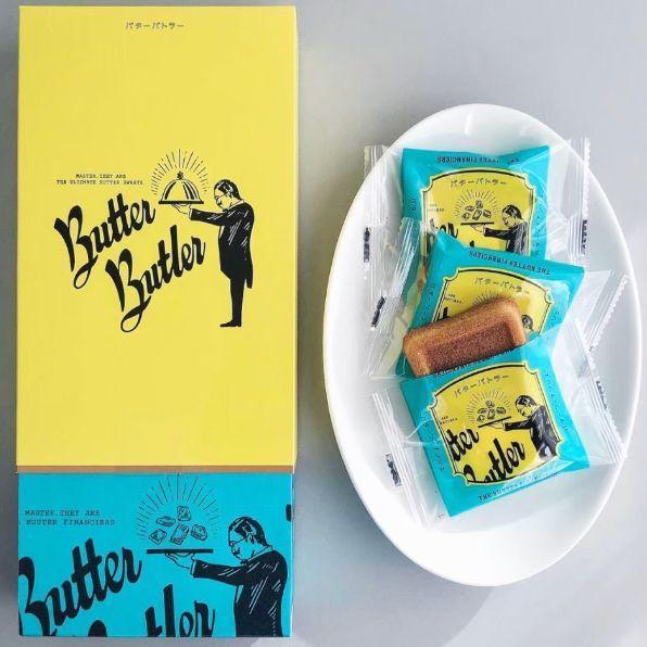 黃藍色的包裝和咖啡色的費南雪