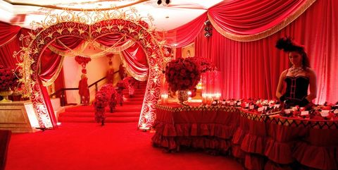 Decoration, Wedding banquet, Function hall, Red, Stage, Event, Lighting, Wedding reception, Ceremony, Textile,