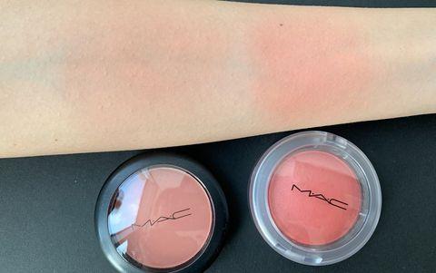 Pink, Cosmetics, Face powder, Peach, Eye shadow, Eye, Material property, Powder, Lip gloss,