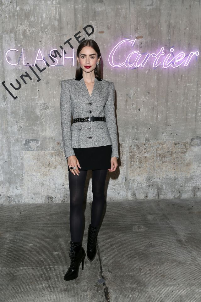 berlin, germany   september 21 lily collins attends the cartier clash unlimited event at boros bunker on september 21, 2021 in berlin, germany photo by gisela schobergetty images for cartierpr photo