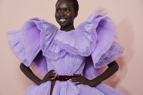 Purple, Lavender, Violet, Lilac, Fashion, Fictional character, Costume, Smile, Ballet tutu, Iris,