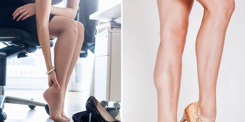 Human leg, Leg, Thigh, Footwear, Calf, Ankle, High heels, Foot, Human body, Shoe,