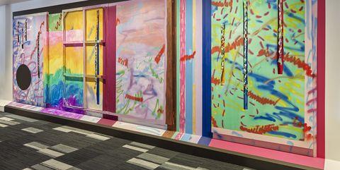 Art, Modern art, Painting, Visual arts, Wall, Textile, Mural, Interior design, Art gallery, Art exhibition,
