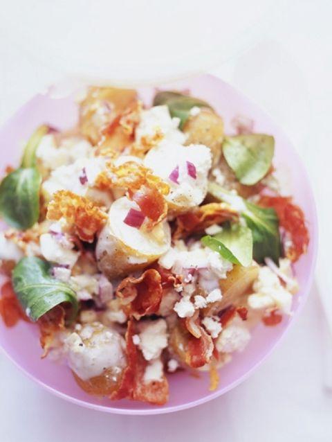 Aardappelsalade met pancetta en feta