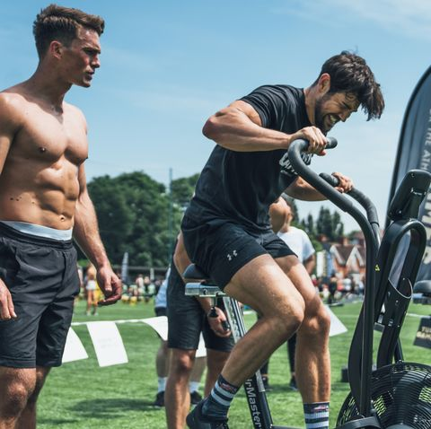 Barechested, Muscle, Physical fitness, Sports training, Shorts, Recreation, Sports, Rugby player, Sports equipment, Competition event,