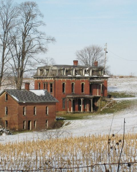 Winter, House, Snow, Home, Rural area, Building, Tree, Freezing, Land lot, Architecture,