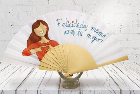 """Abanico con el lema """"Felicidades mamá, eres la mejor"""", de Cristina Neira"""