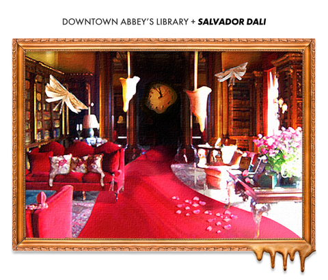 the library from downton abbey if designed by salvador dalí