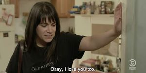 Abbi Jackson in Broad City speaking to her neighbour