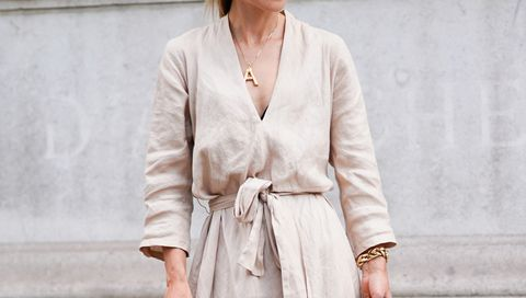 Clothing, White, Outerwear, Street fashion, Robe, Neck, Fashion, Pink, Beige, Dress,