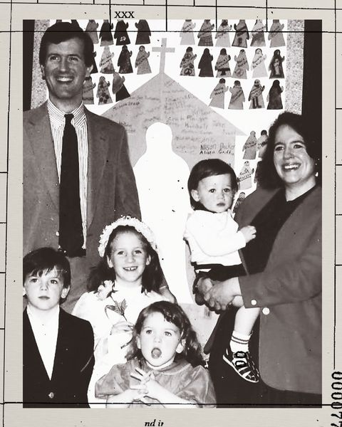 barrett doyle with her husband, bill doyle, and their four children after a church play