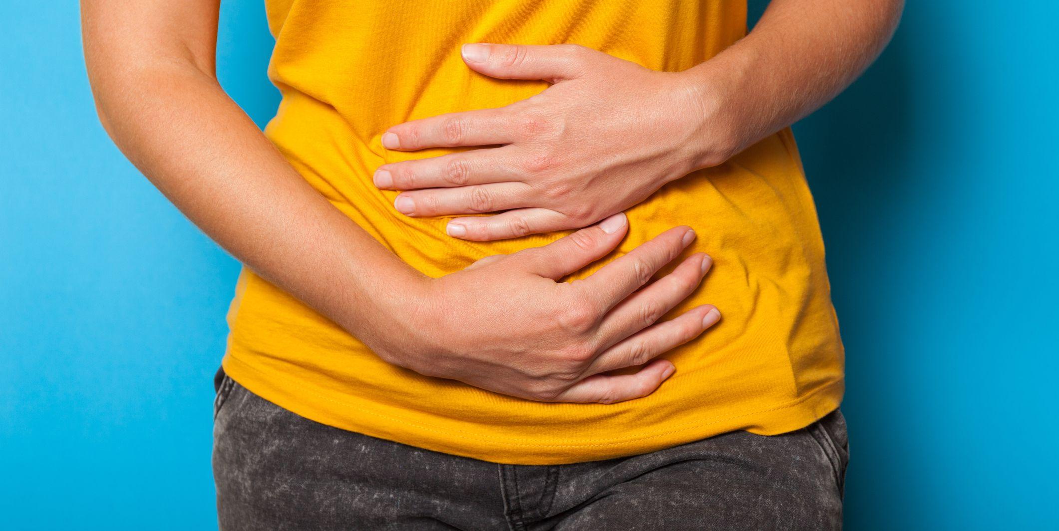 Pms pain, stomach ache. Endometriosis syndrome, diarrhea concept