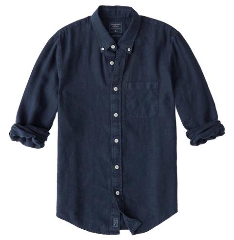 Clothing, Sleeve, Shirt, Blue, Button, Collar, Outerwear, Denim, Dress shirt, Top,